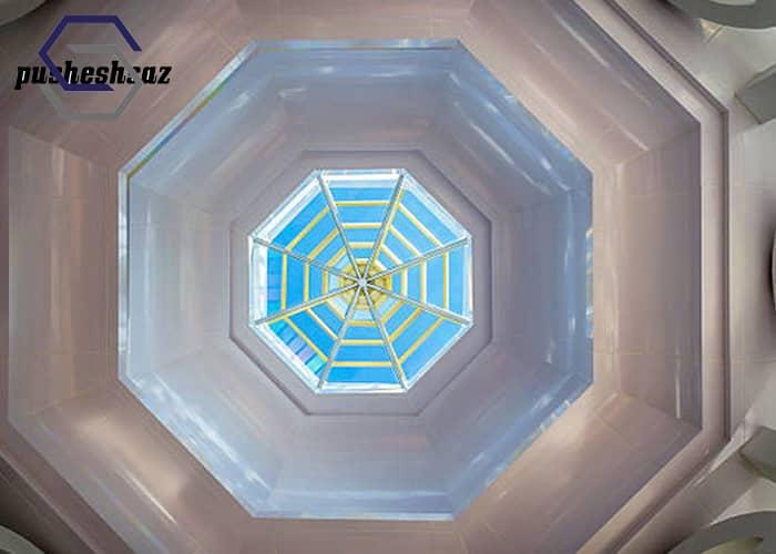 سقف نورگیر شیشه ای ۸ ضلعی